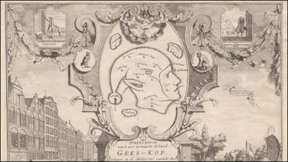 Mississippi-boblen ble karikert av Nederland, der en avis tegnet en liksomøy formet som en narr