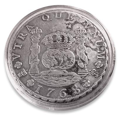 Symbol på spansk verdensherredømme: Klodens to sider med den spanske kronen over.