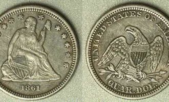 Amerikansk dollar med Lady Liberty sittende med stokk og frygisk lue