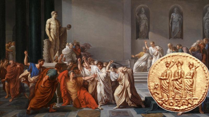 Koson og maleri som viser mordet på Cæsar