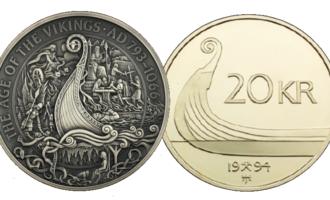 Vikingmynten og 20-kronermynten ved siden av hverandre.