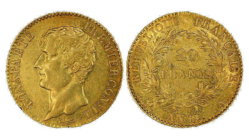 Napoleon av gull verd 20 francs med omskrften Bonaparte Premier Consul