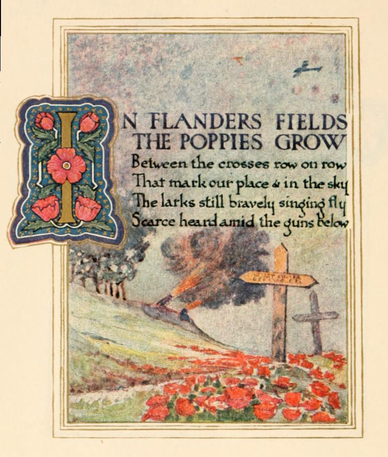 Forsiden på diktet In Flanders Fields, som startet assosiasjonen mellom valmuer og falne.
