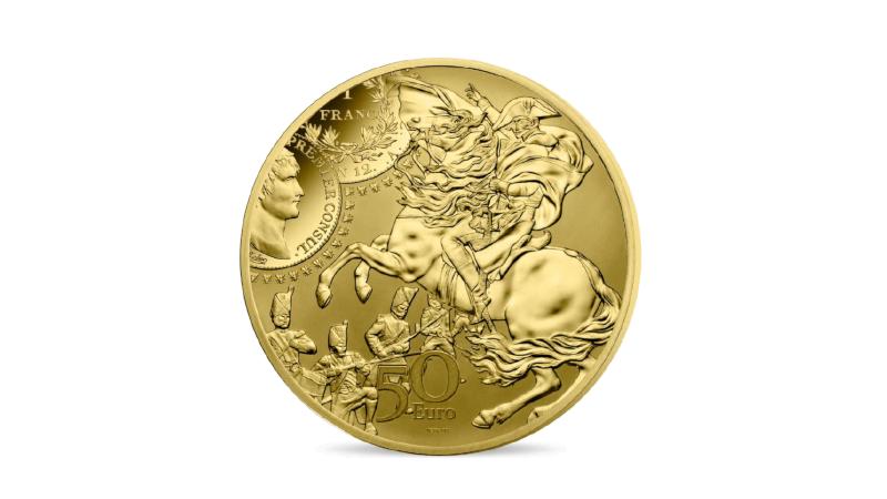 Napoleon Bonaparte fra både myntene utgitt under ham og til hest foreviget av kunstneren David.