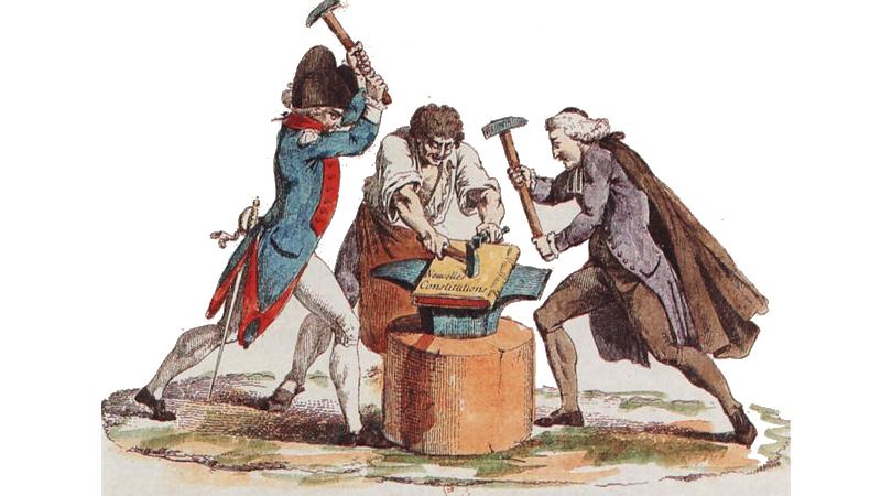 Den franske revolusjonen: Grunnloven smis av adelen (for anledning i rødt, hvitt og blått), presteskapet og tredjestanden.