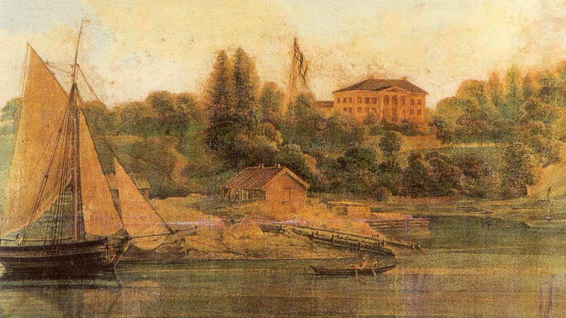 Gimsøy Kloster ble gjort om til en herregård som lå idyllisk til ved Skienselven.</i></small>