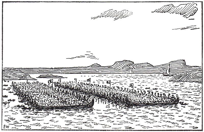 Slaget i Hafrsfjord tegnet av Erik Werenskiold
