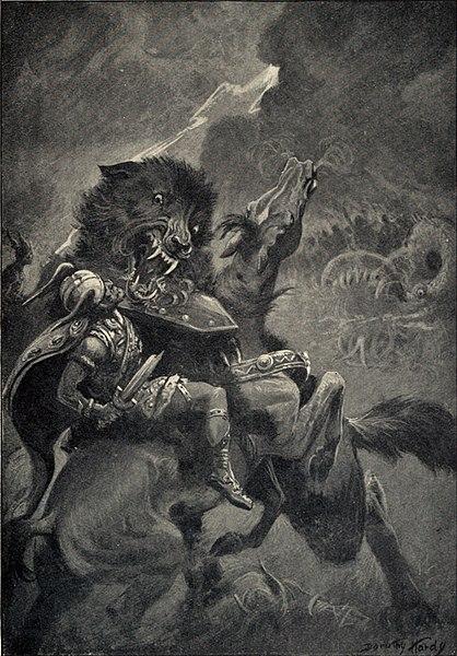 Odin slåss mot Fenrisulven under Ragnarok