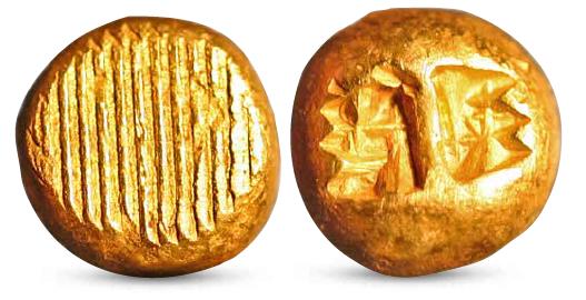 Verdens første mynter hadde bare enkle risninger og pregemønstre.