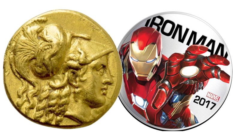 en samling er ikke nødvendigvis en krukke småmynter - gullstater fra Aleksander og Iron Man mynt som lyser.