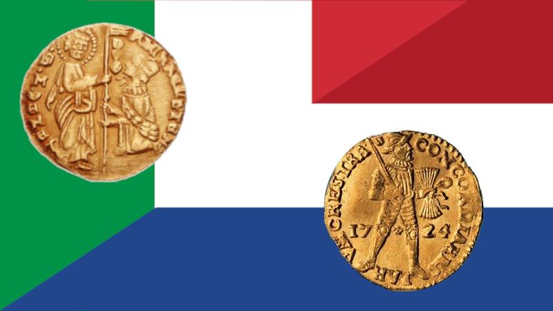 bilde av venetianske og nederlandske dukater
