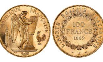 angel lykkemynt 1889 100 franc