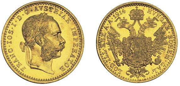 Østerrike 1914 gullmynt med Franz Josef med laubærkrans
