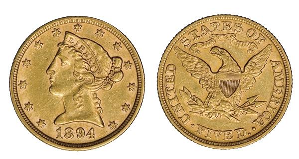 """Gullalder: En fem-dollar fra 1894 med bilde av Lady Liberty og den amerikanske ørnen med """"In God We Trust"""""""