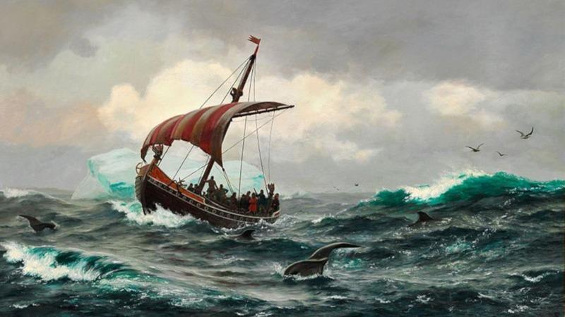 Vikingskip på Grønland. Dette er sannsynligvis enten Leiv Eiriksson eller Eirik Raude.