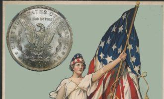 Amerikansk flagg, Colombia og reversen til en Morgan-dollar med en ørn