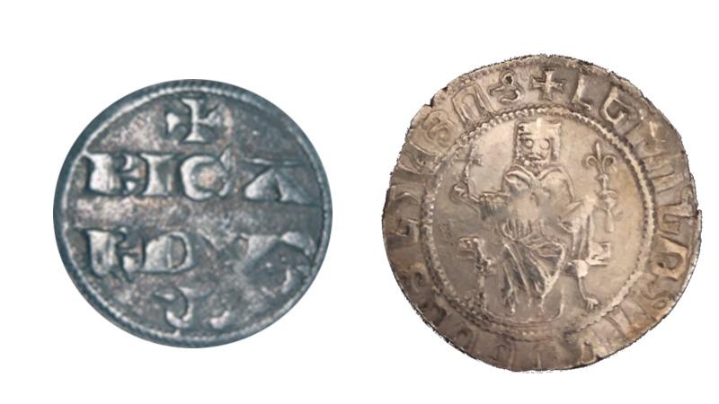 Richard I denier og Leo II to tram - mynter tempelridderne benyttet i Europa og Midtøsten