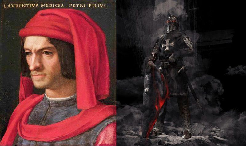 Lorenzo de Medici til venstre, kunstnerisk framstilling av tempelridder til høyre