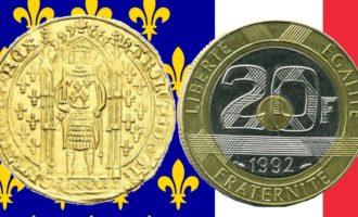 franske franc fra ecu til moderne gammelt og nytt fransk flagg i bakgrunnen