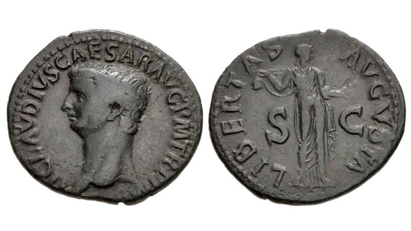 Bronsemynt av Claudius med SC på reversen