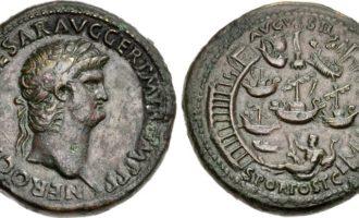 Bildet viser hvordan bronsemynter kan vise avanserte motiver, som havnen i Ostia