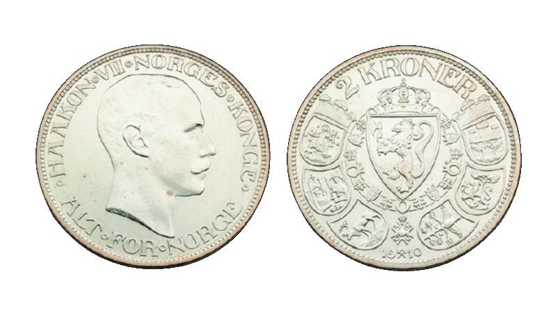 Norske sølvmynter som denne 2-kronen ble smeltet ned i stort monn