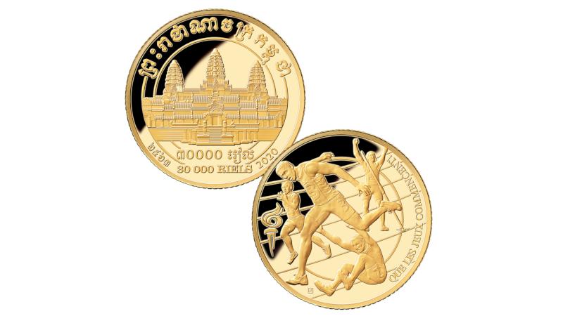Countdown-gullmynter fra Kambodsja med Angkor Wat, friidrettsutøvere og feil årstall