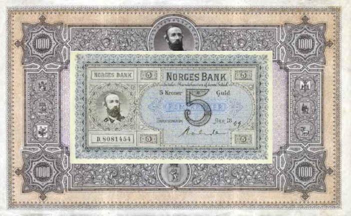 første utgave av norske pengesedler, 5 kroner liggende på en 1000-kroner