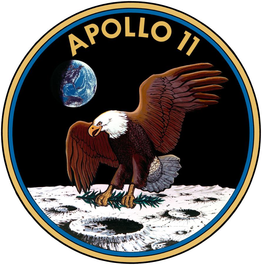 Samlerhuset - Apollo 11s emblem med ørn på månen og jorden i bakgrunnen.