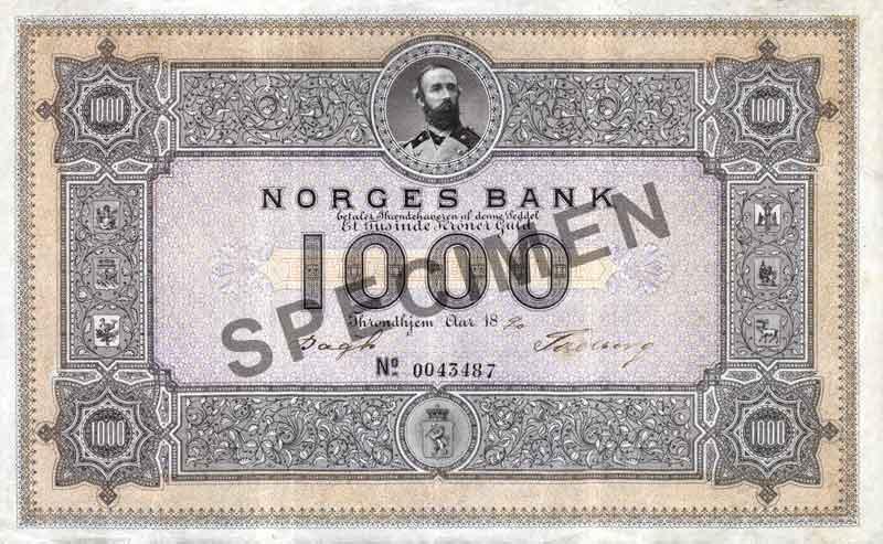 Samlerhuset - Norges Bank 1000 kroner med SPECIMEN diagonalt over midten